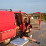 Sonnenuntergang Hoernum VW Bus